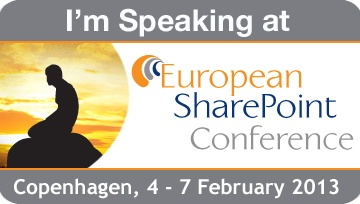 I'm speaking at European SharePoint Conference 2013