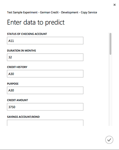 Testing a prediction Azure ML API via a test page
