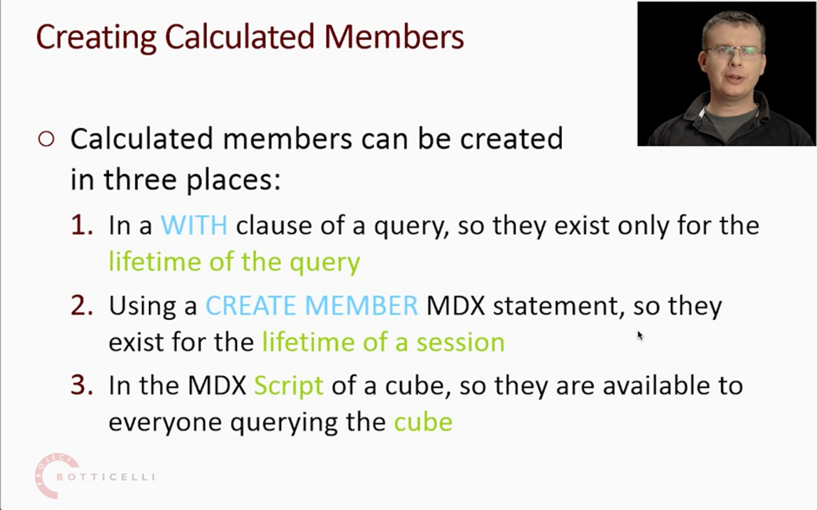 Chris Webb explains three ways to create calculated members in MDX