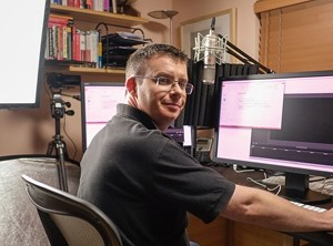 Photo of Chris Webb Recording a New MDX Online Training Course at Project Botticelli